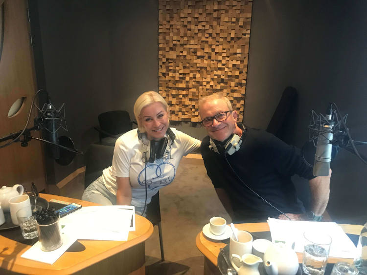 Denise VAn Outen and Harren Enfield in the studio recording for the van driver radio ad as part of the Vanonomics campaign.